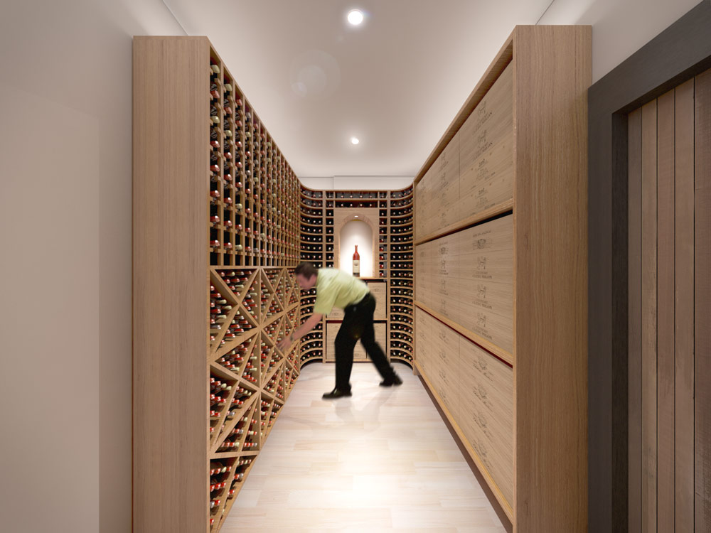 Wine cellar design revit render 2